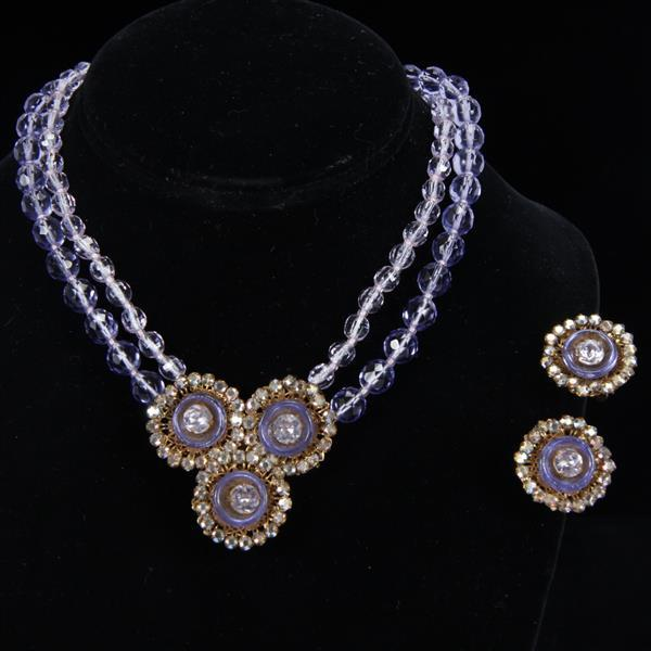 Miriam Haskell 2pc. Periwinkle Demi-Parure; Necklace and Clip Earrings with glass and crystal beads and rhinestones.