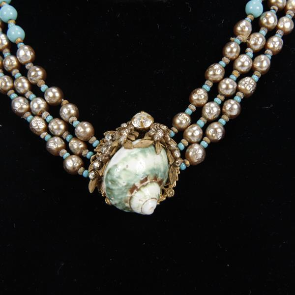 Miriam Haskell 3pc. Parure; glass beaded multi strand Necklace, Bracelet and Earrings seashell motif.