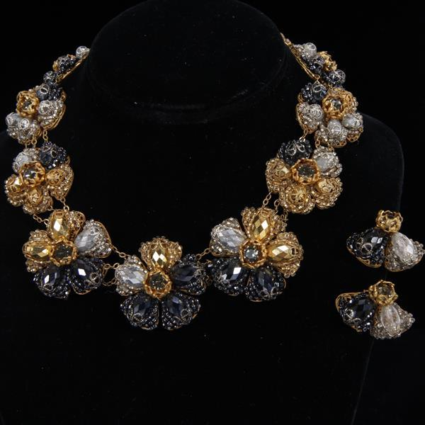 Miriam Haskell 2pc. Demi-Parure; Black, Gold, & Silver Floral Beaded Necklace & Clip Earrings.
