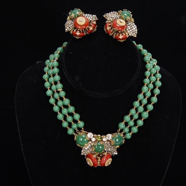 Miriam Haskell 2pc. Demi Parure; Red & Green Glass Necklace & Clip on Earrings Set with rhinestones.