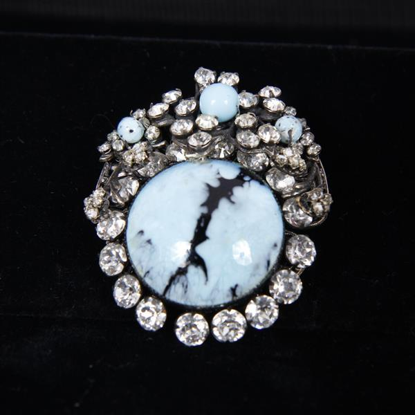Miriam Haskell 4pc. Blue Set; Necklace, Bracelet, Brooch Pin, & Clip earrings.