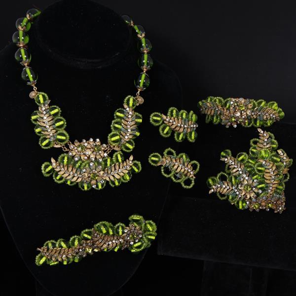 Miriam Haskell 5pc. Parure; Green glass beaded Necklace, Bracelet, 2 Brooch Pins, & Clip Earrings.