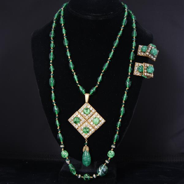 Miriam Haskell 2 pc. Emerald Green French Poured Glass Beads & Rhinestones Necklace & Clip Earrings