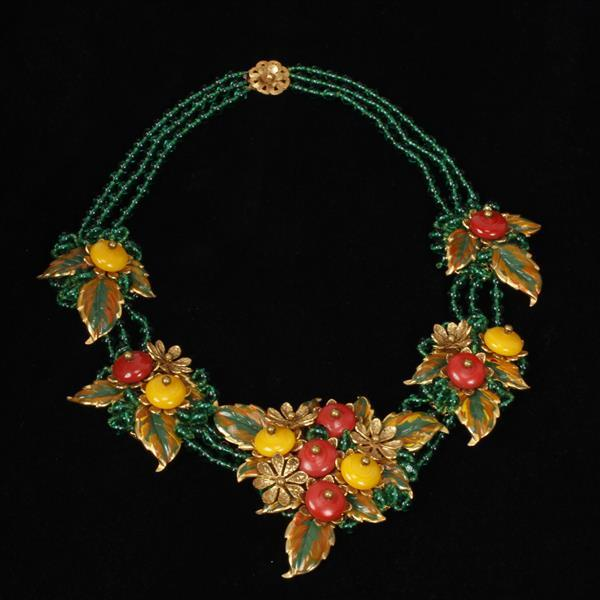 "Miriam Haskell green, red and yellow necklace with enameled gilt floral leaf sprays & glass ""berry"" beads."
