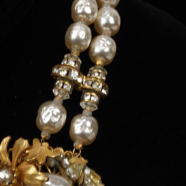 Miriam Haskell gold tone faux drop pearl and crystal bib necklace ear cuff clips with crystals and drop faux pearls.