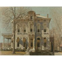Harry Allen Davis, (Indiana, 1914-2006), 1336 North Delaware Street, Indianapolis Historic Home, acrylic and watercolor on paper, 23...