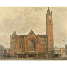 """Harry Allen Davis, (Indiana, 1914-2006), Union Station, Indianapolis, acrylic and watercolor on paper, 24 1/4""""H x 34 3/4""""W (sight),..."""
