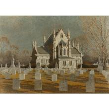 Harry Allen Davis, (Indiana, 1914-2006), Gothic Chapel at Crown Hill Cemetery, Indianapolis, acrylic and watercolor on paper, 23 3/4...