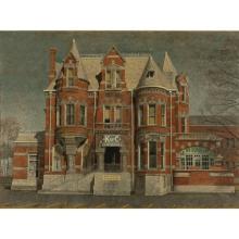 Harry Allen Davis, (Indiana, 1914-2006), The K of C Hugh McGowan Home, 1305 N. Delaware, Indianapolis Romanesque Revival, acrylic an...
