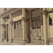 """Harry Allen Davis, (Indiana, 1914-2006), Fort Wayne Avenue Store Front, Indianapolis, acrylic and watercolor on paper, 24""""H x 34""""W (..."""
