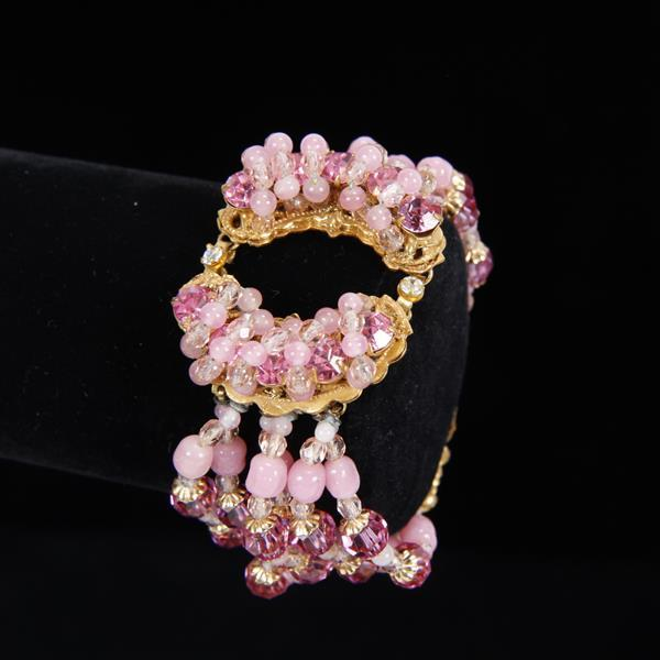 Miriam Haskell 3pc. Parure; Pink Glass Beaded Multi Strand Necklace, Bracelet, & Clip Earrings.
