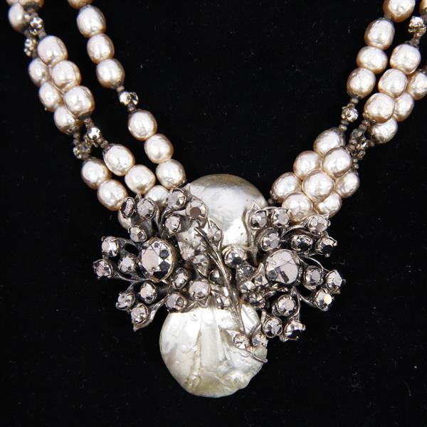 Miriam Haskell 4pc. Parure; Pearl and Rhinestone Multi Strand Necklace, Bracelet, Brooch Pin, & Clip Earrings