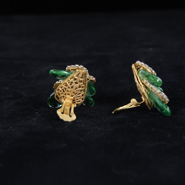 Miriam Haskell Emerald Green Crystal & Rhinestone Cluster 2pc. Set; clamper bracelet and ear clips.