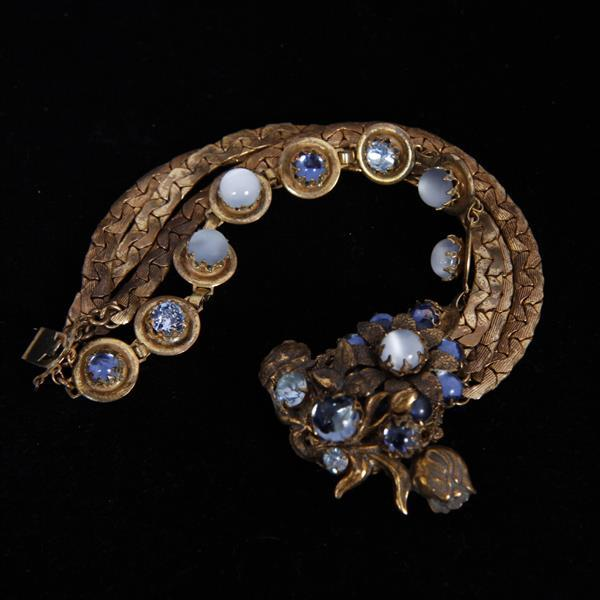 Miriam Haskell 3pc. Parure; Blue & Moonstone Glass & Brass Floral Cluster Necklace, Bracelet, & Brooch Pin.