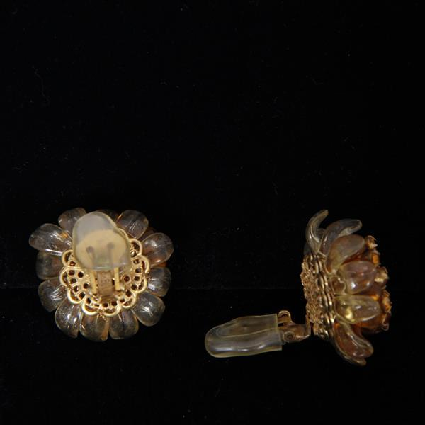 Miriam Haskell 3pc. Amber Glass and Rhinestone Floral Parure; Necklace, Brooch Pin, & Clip Earrings with articulated molded glass fl...
