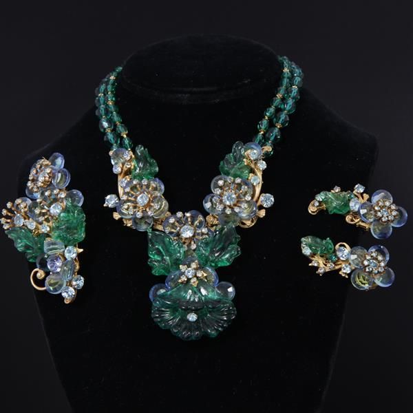 Stunning Miriam Haskell 3pc. Parure; Green & Blue Floral Cluster Necklace, Bracelet, & Clip Earrings with molded glass Flower and Le...