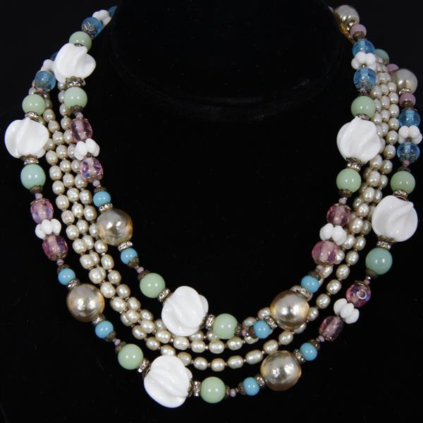 Miriam Haskell 2pc. Pastel Layered Necklace & Clip Earrings