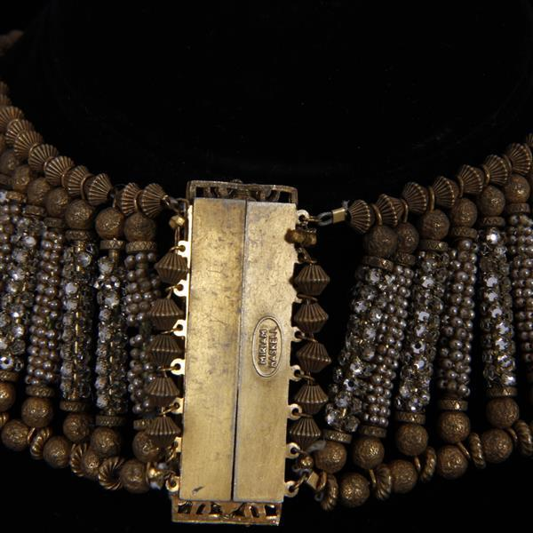 Miriam Haskell Cleopatra Parure; Egyptian beaded collar necklace, bracelet and earrings.