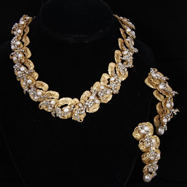 Miriam Haskell 2pc. Gilt & Rhinestone Necklace & Clip Earrings