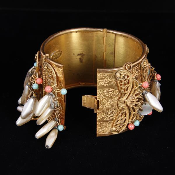 Miriam Haskell Gilt Filigree Wide Cuff Bracelet with beaded baubles.