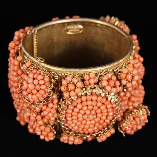 Miriam Haskell Coral Glass Beaded WIDE Cuff Bracelet.