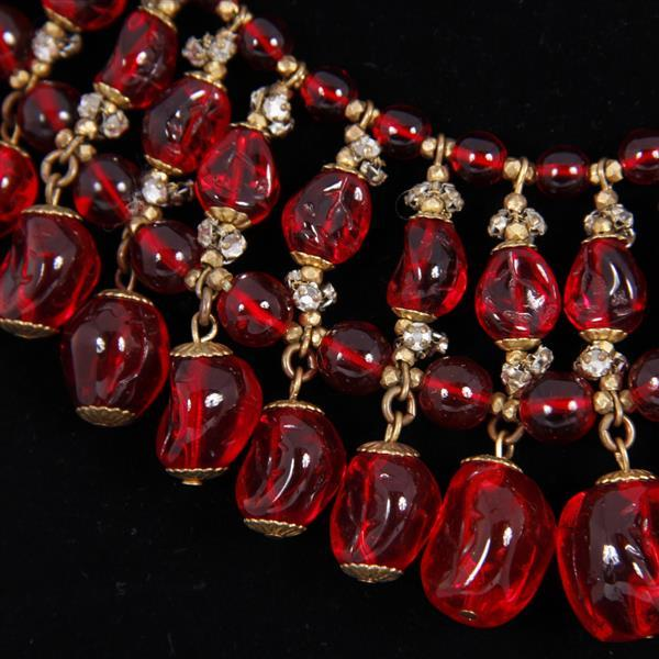 Miriam Haskell Red French Poured Glass Beaded Egyptian Fringe Collar Necklace.