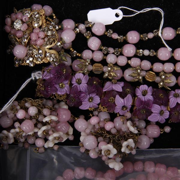 Miriam Haskell vintage costume jewelry featuring pink and purple glass.
