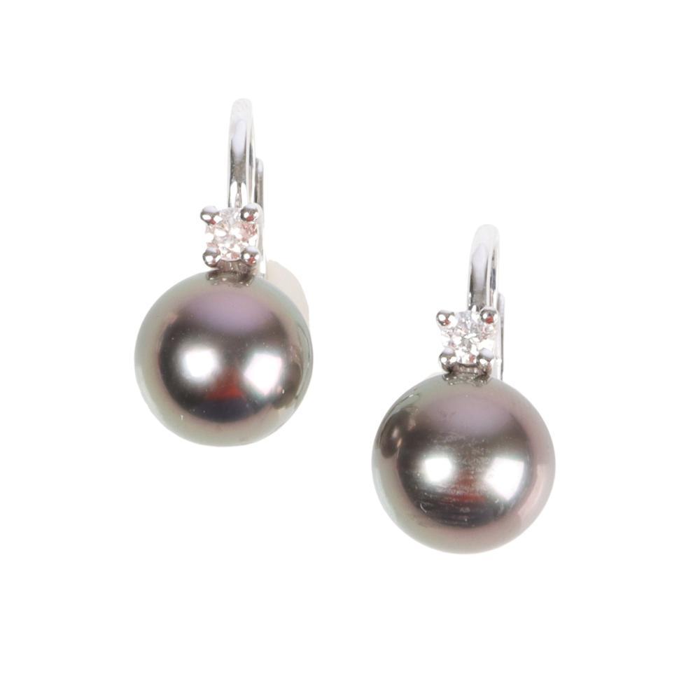 "Tahitian south sea 8.6mm black pearl earrings with diamond. 1/2""H x 1/4""W x 3/4""dia"