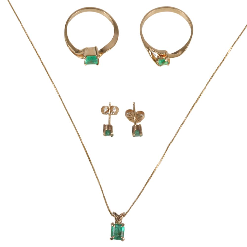 Emerald and gold collection: two 18K gold rings, 14K pendant necklace & earrings. Ring sizes 6 1/2 and 7 1/4