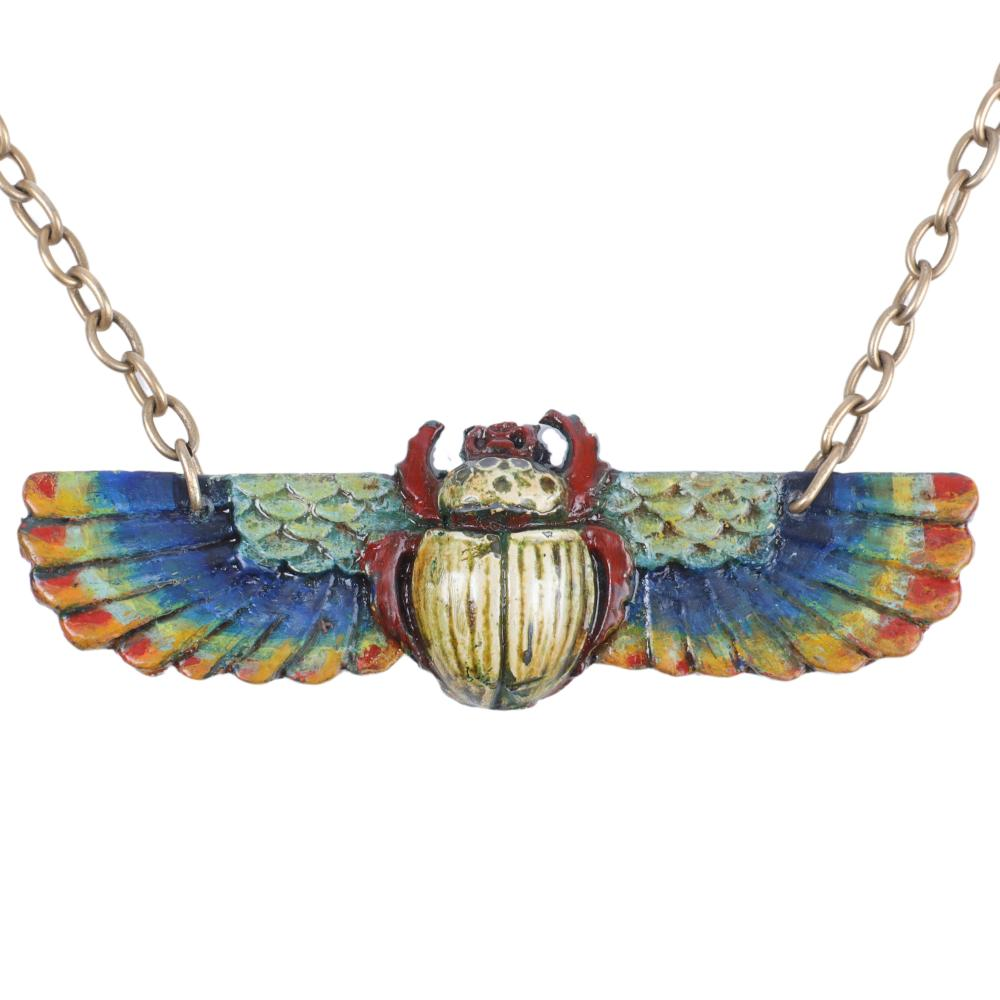 """Egyptian Revival Huge enameled winged scarab breastplate pendant necklace 35""""L (necklace), 1 3/4""""H x 5""""W (pendant)"""