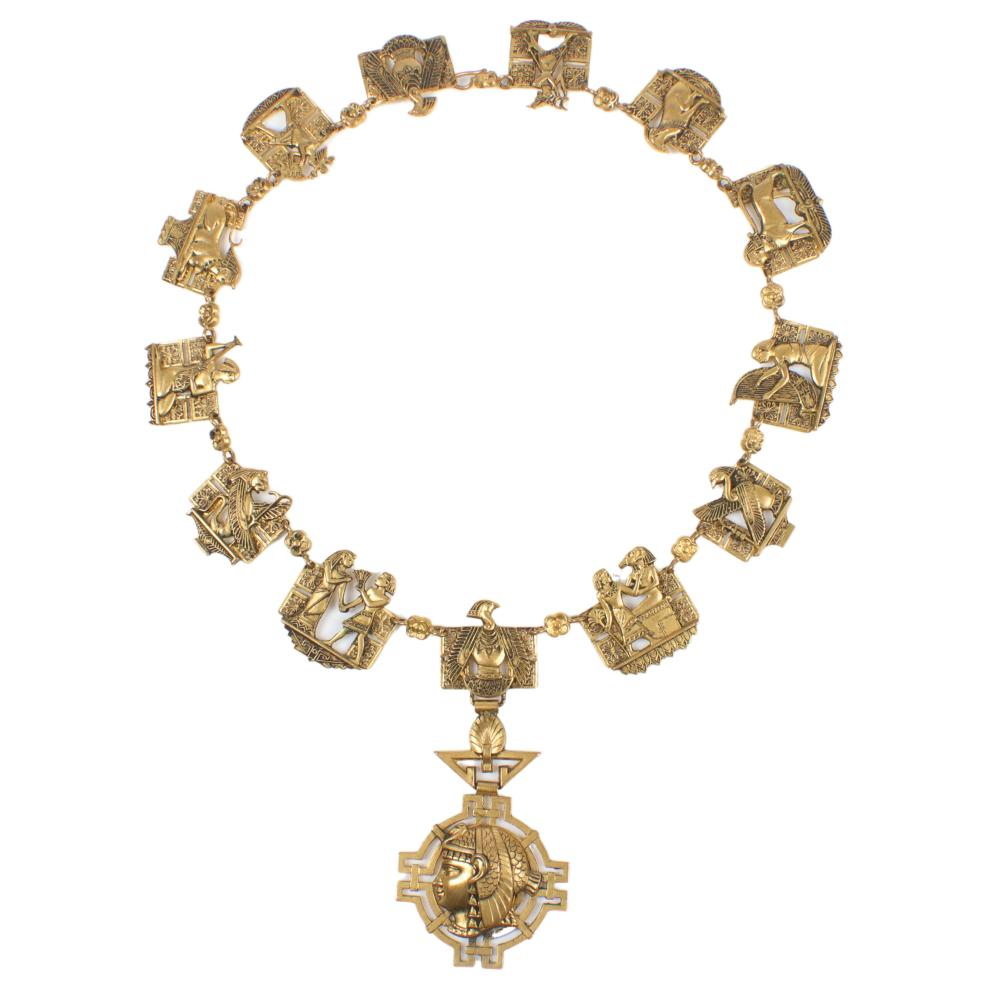 """Art Deco Egyptian Revival frieze themed pendant story necklace 16 1/2""""L"""
