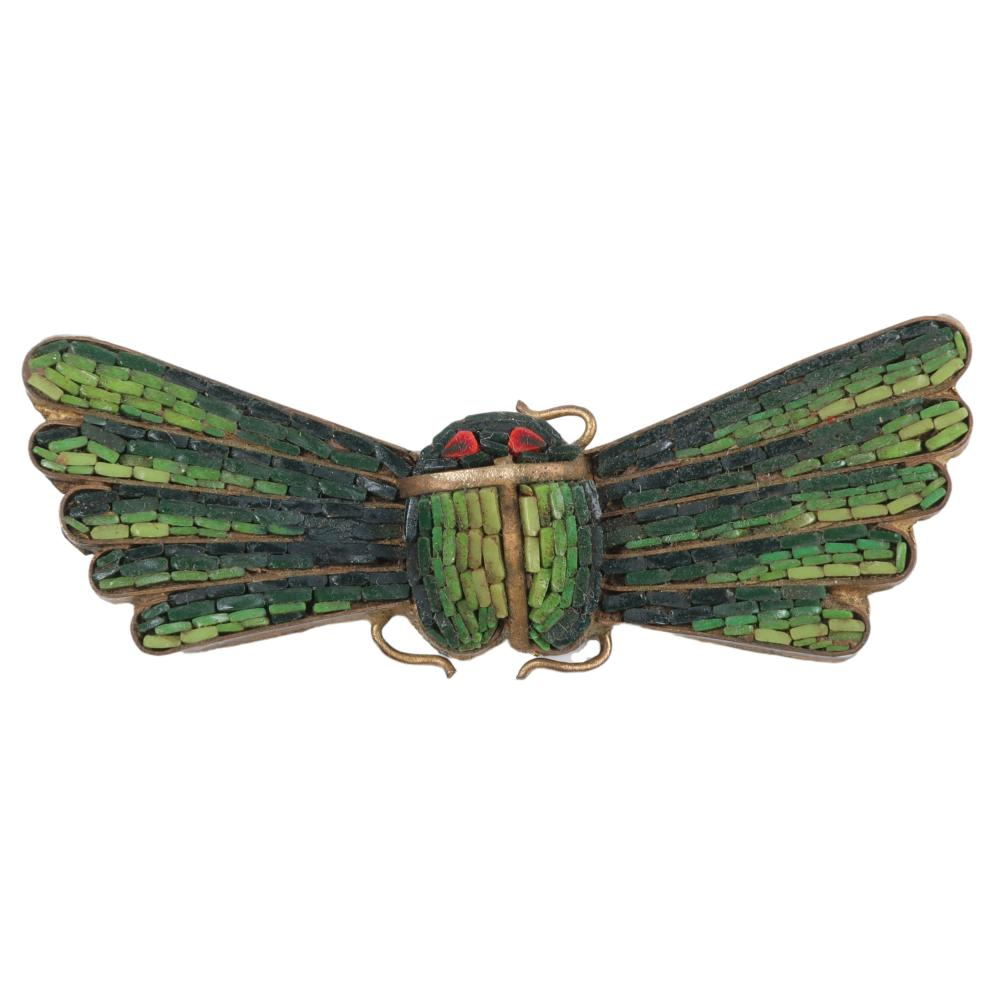 """Egyptian Revival fine micro-mosaic winged scarab brooch, c. 1860. 1 1/4""""H x 2 1/2""""W"""
