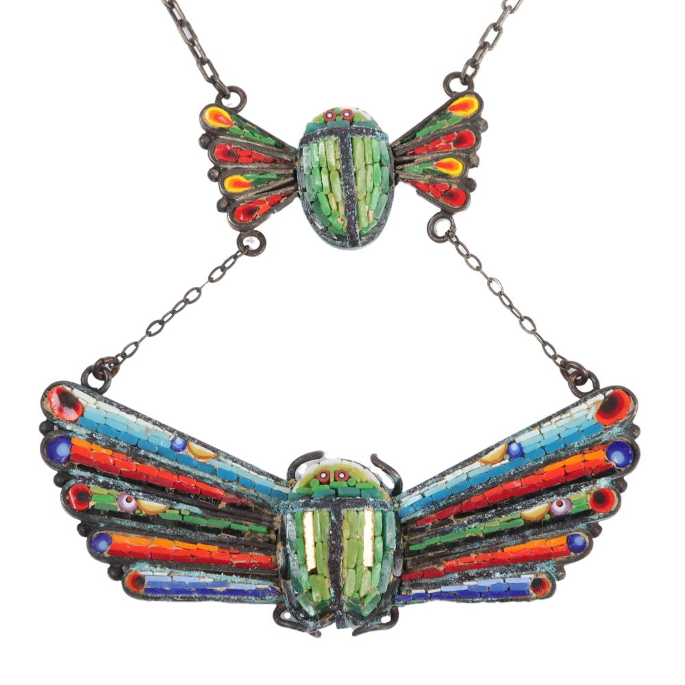 """Egyptian Revival double winged scarab micro-mosaic pendant necklace, c. 1860. 2 1/4""""H x 16""""Long"""