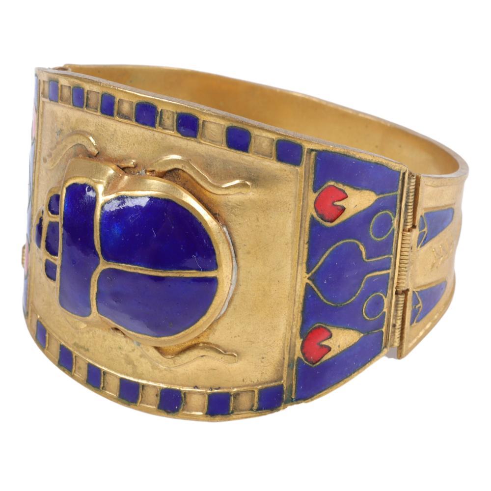 """Egyptian Revival King Tut enamel scarab cuff bracelet 2""""W x 2 1/2"""" (inner diameter)"""