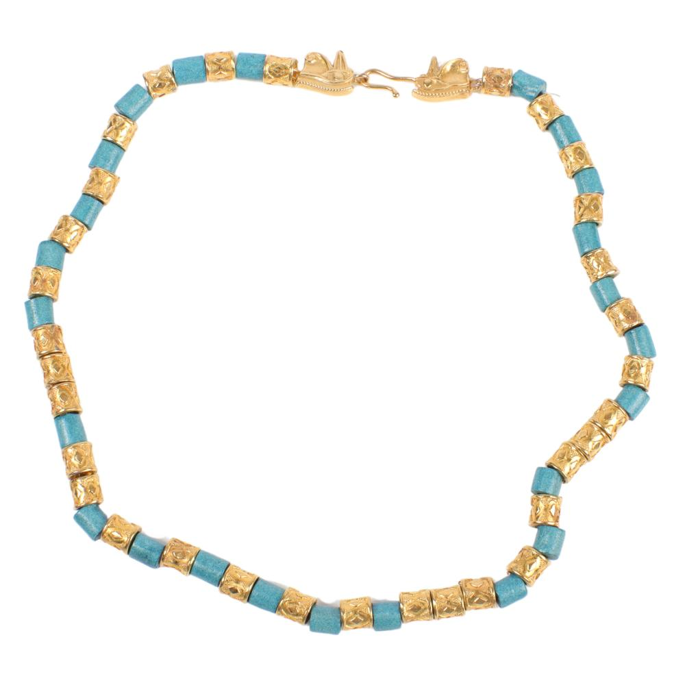 """MMA King Tut gold tone and blue disk necklace, 1976 1/4""""W x 17 1/2""""Long"""