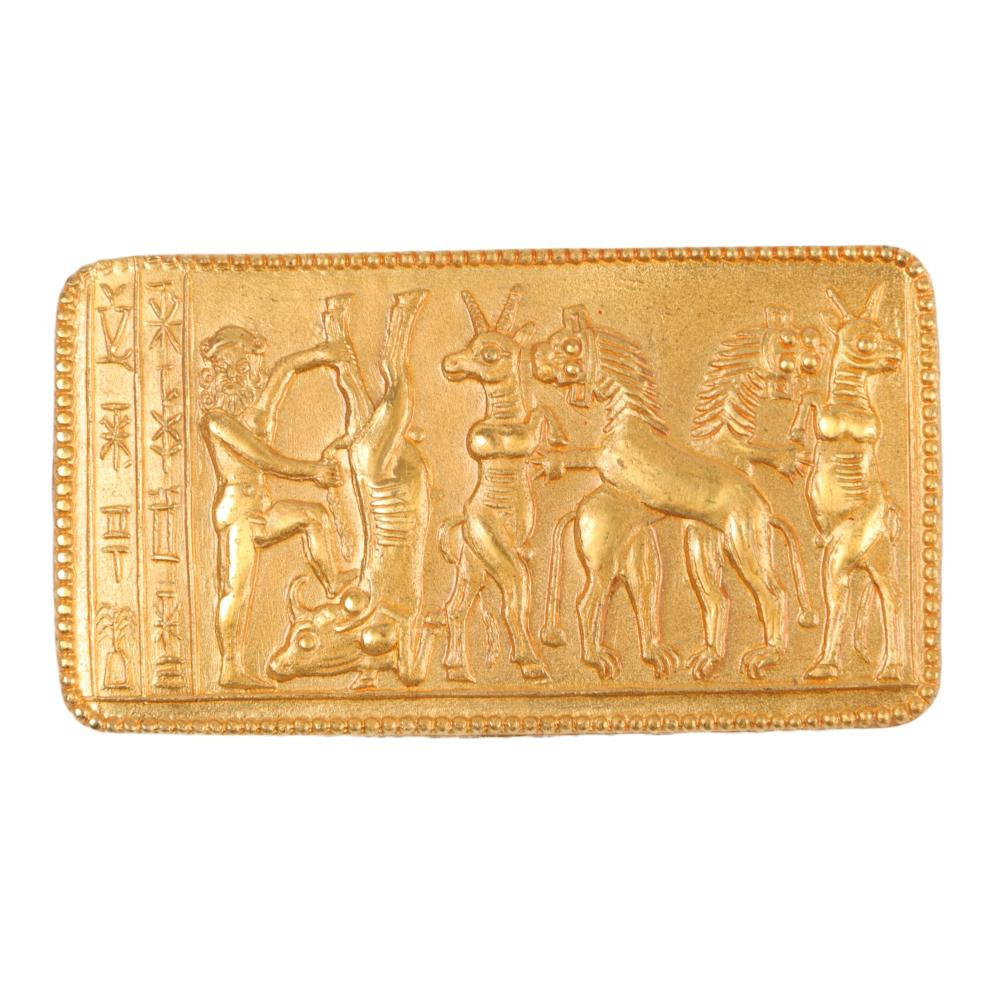 "Vintage gold tone Egyptian gods themed rectangular frieze brooch 1 1/4""H x 2 1/4""W"