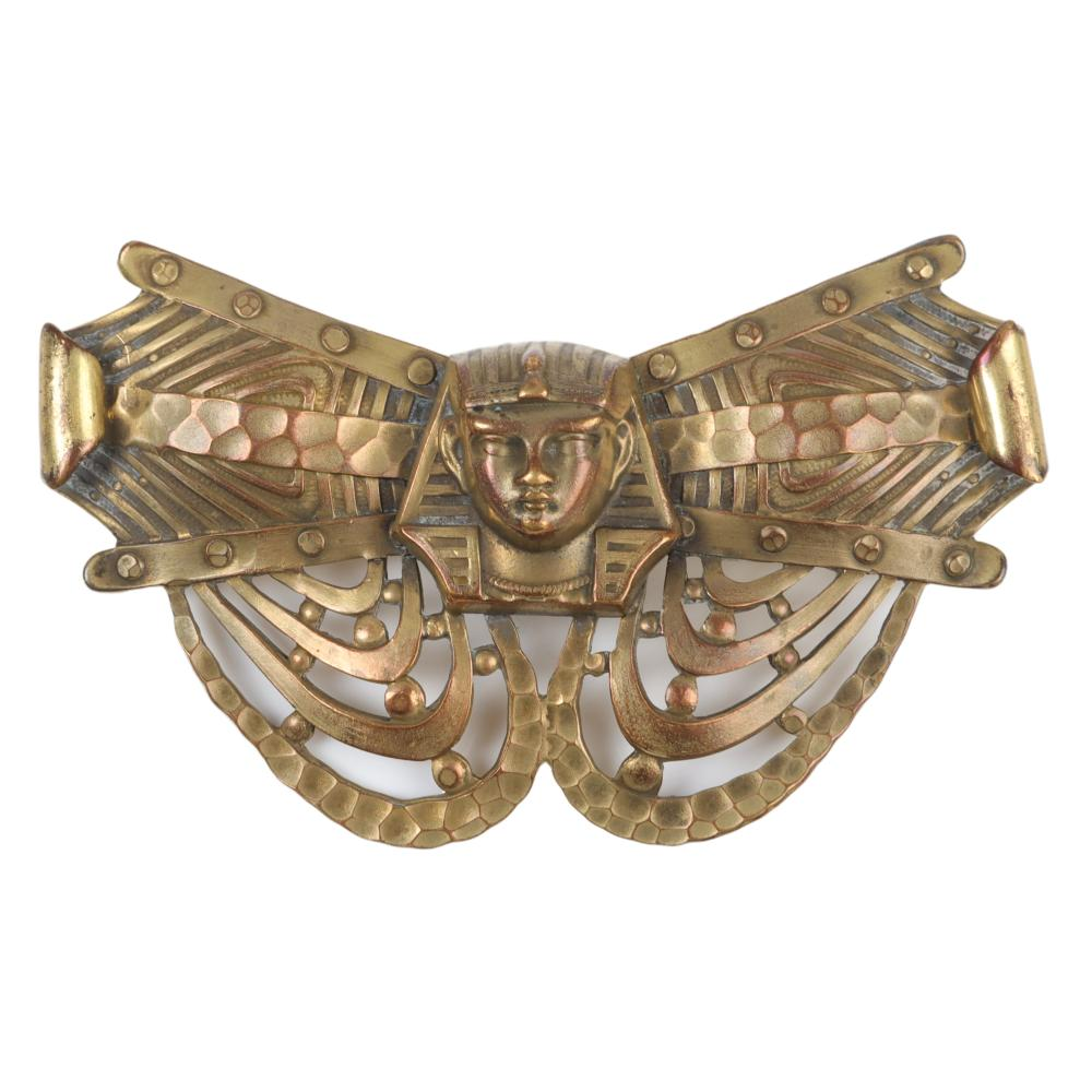 """Victorian brass Egyptian Revival repousse Pharaoh pin brooch. 2 1/4""""H x 3 1/2""""W"""