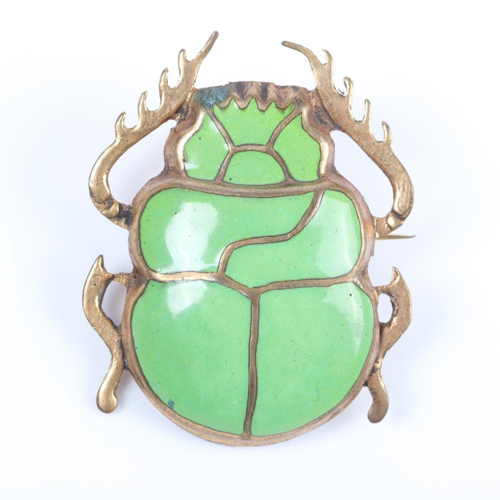 "Egyptian Revival large gold tone green enamel scarab brooch 1 3/4""H x 1 1/2""W"