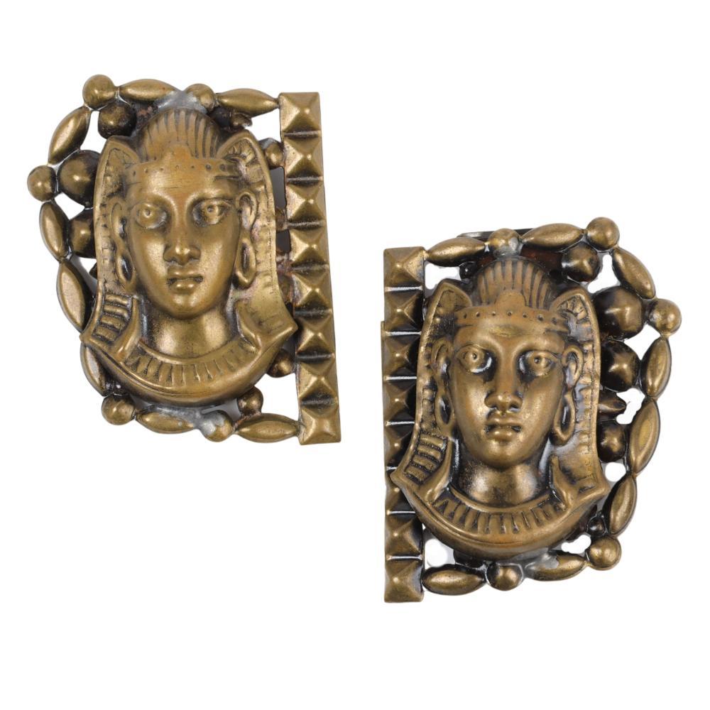 "Pair of Egyptian Revival King Tut Pharaoh head dress clips 2""H x 1 3/4""W"