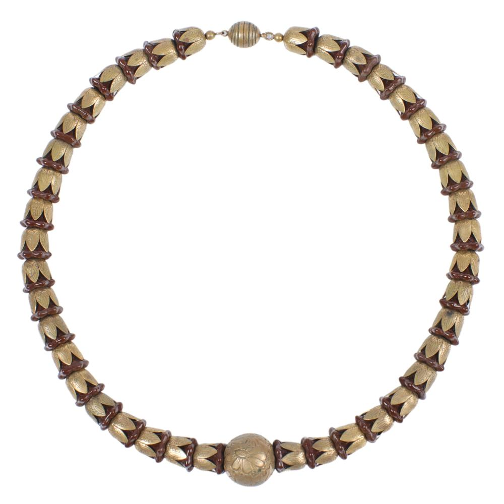 """French Art Deco Egyptian brass and glass lotus flower choker necklace 1/2""""W x 16""""L"""