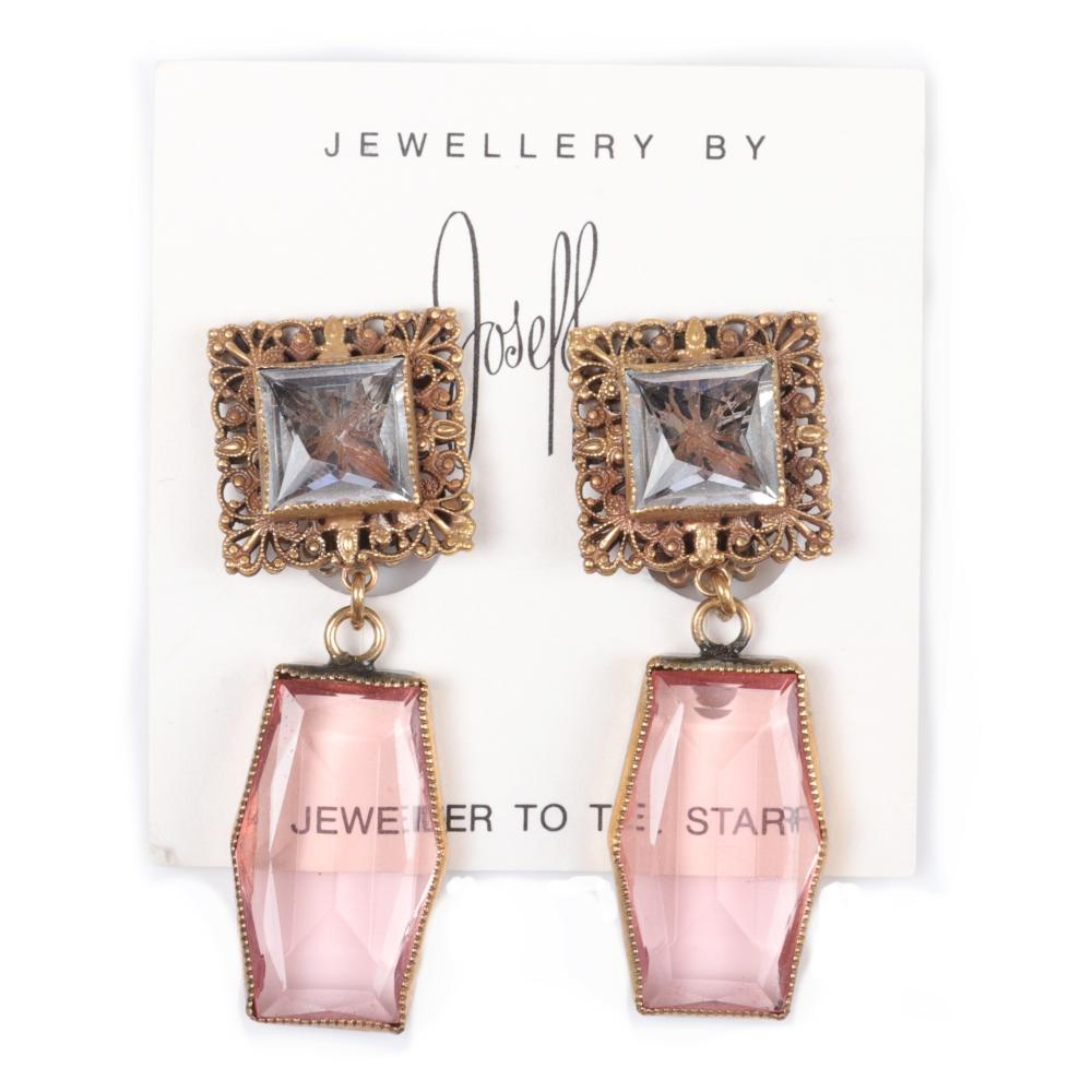 """Joseff of Hollywood square crystal earring with huge 1 1/8""""H pin rose crystal dangles, 2 1/2""""H x 3/4""""W"""