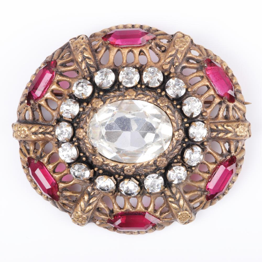 """Joseff of Hollywood oval Deco brooch with 7/8"""" crystal, six-sided ruby crystals 2""""H x 2 1/4""""W"""