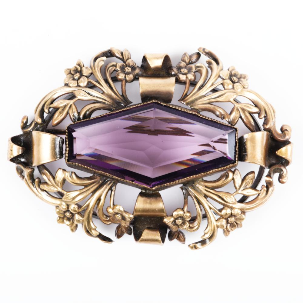 """Joseff of Hollywood dimensional brooch with huge 1 3/4""""W purple crystal 2""""H x 3""""W"""