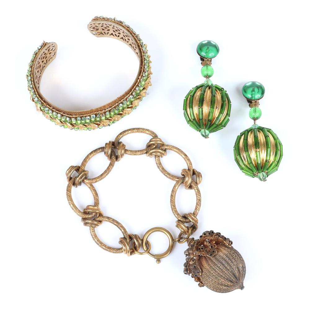 """Haskell? 3pc unsigned jewelry group: brass large link bracelet with fruit / acorn charm, 2 1/2""""inner width (cuff)"""