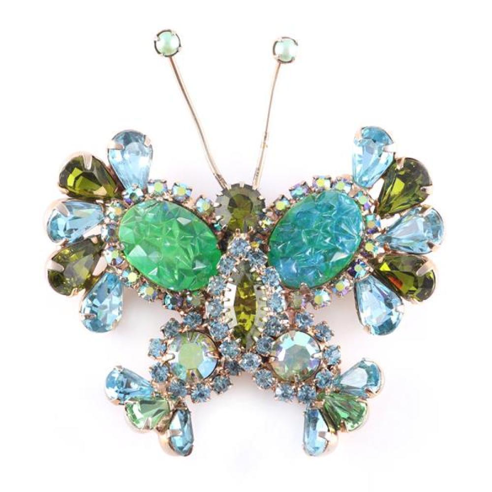 Juliana 1960 jeweled butterfly figural pin brooch with iceburg glass stones peridot, aqua and aurora borealis crystals and rhineston...