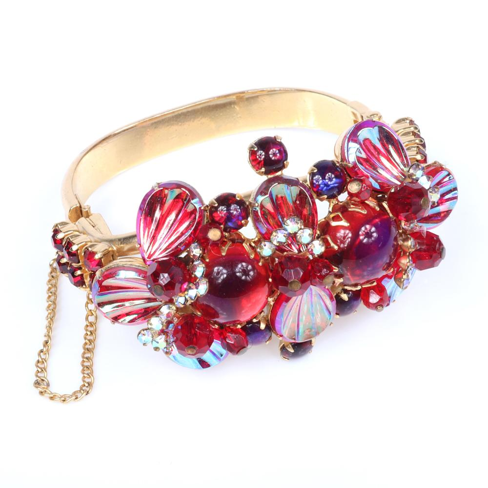 """Schreiner? Juliana? gold tone hinged bangle cuff bracelet encrusted with ruby glass 2"""" inner diam, 1 3/4""""W"""