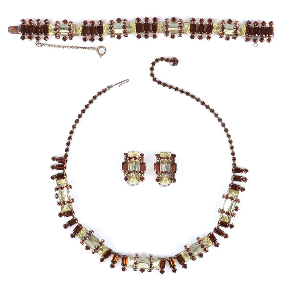 "Hattie Carnegie parure choker necklace, bracelet, earring set necklace adjustable to 16"" (necklace), 7 1/2""L (bracelet), 1""H (earrings)"