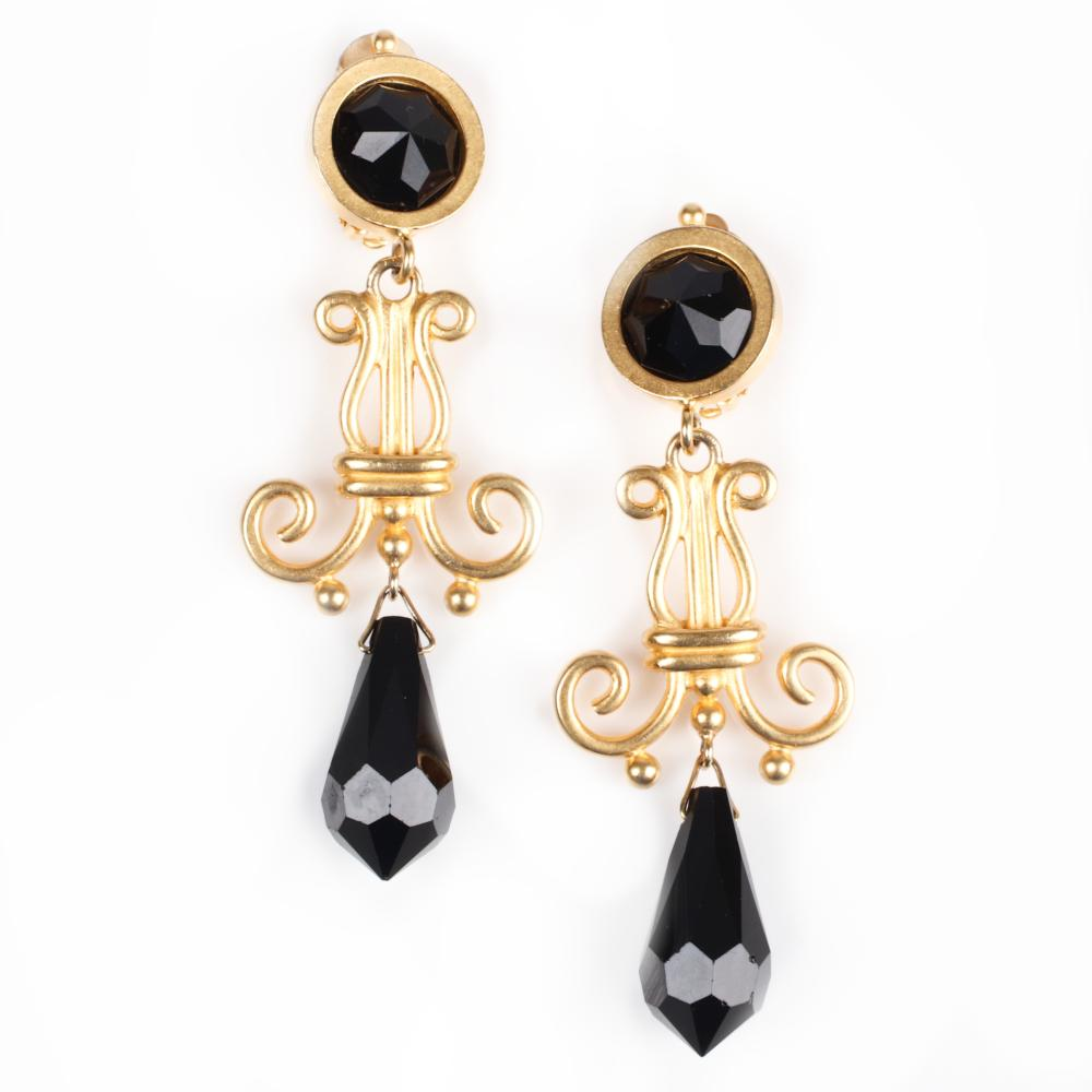 """Karl Lagerfeld vintage designer gold tone couture chandelier earrings with 3 1/2""""H x 1 1/4""""W"""