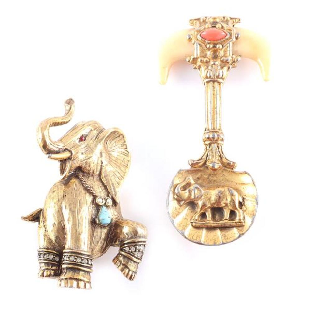 Two 1950s gold tone figural elephant pins; 1950s Korda gold tone elephant spoon with resin tusks, and large marching elephant with c...