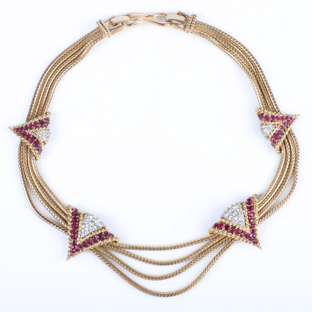 "MB Boucher three strand retro gold tone snake chain choker necklace 16 1/2""L x 1 1/2""Drop"